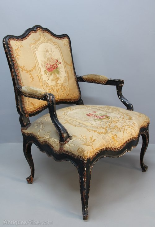 19th Century Upholstered Open Armchair. U411