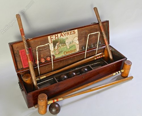 Antique Boxed F H Ayres Croquet Game. U885