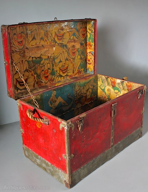 Antique Trunk with Circus Lining. U387