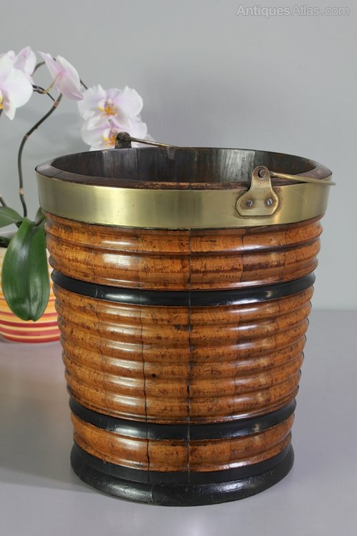 Antique Walnut Brass Banded Bucket. U315