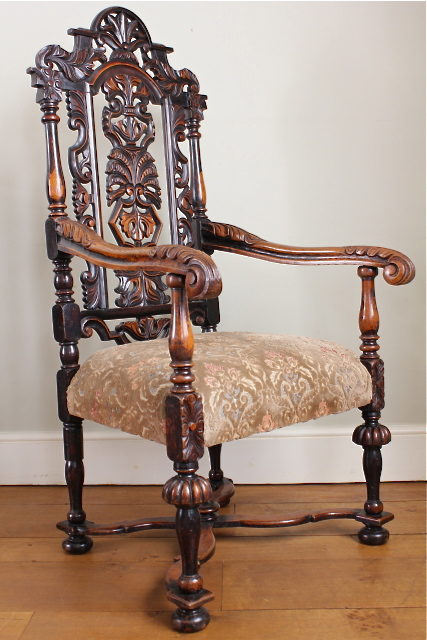 Carved Oak Victorian Open Armchair