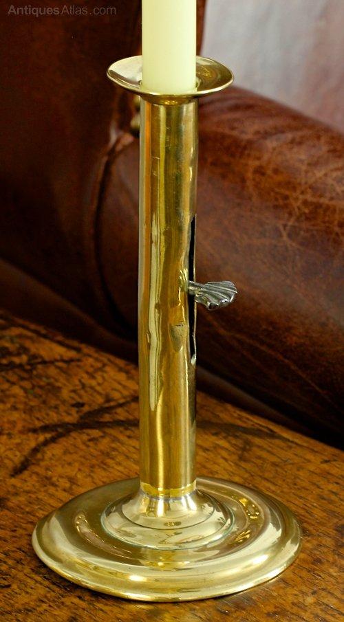 Georgian Brass Hogscraper Candlestick. T671