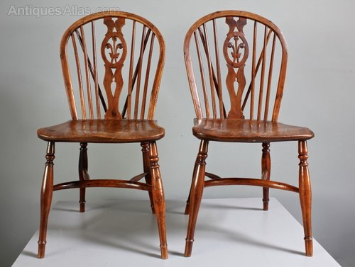 Pair of Antique Yew Wood Windsor Side Chairs.