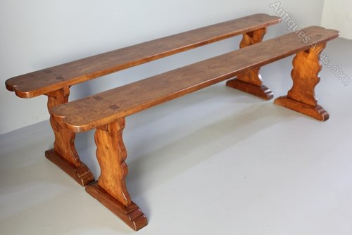 Pair of Antique French Cherrywood Benches.