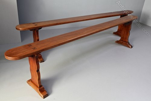 Pair of French Cherrywood Long Benches.