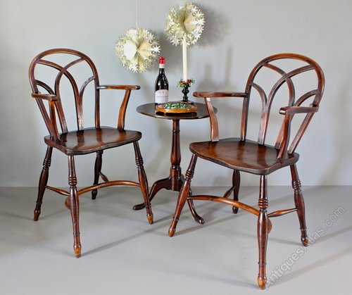 Pair of Gothic Windsor Armchairs. U468