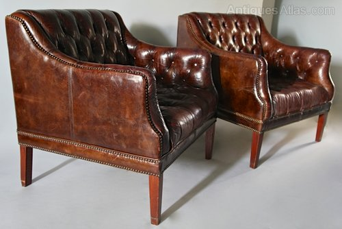 Pair of Vintage Leather Low Back Armchairs. U523