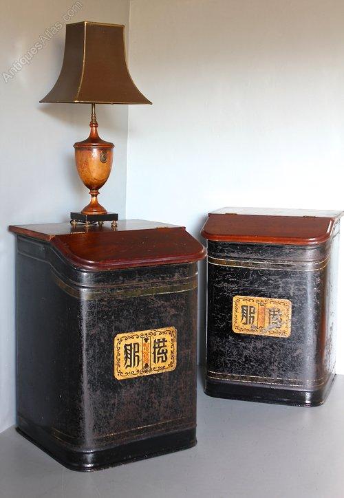 Pr 19th Century Japanned Shop Tea Tins. U494