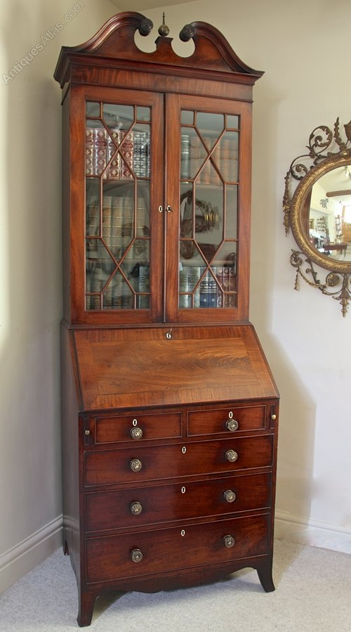 Small Georgian Mahogany Bureau Bookcase. U573