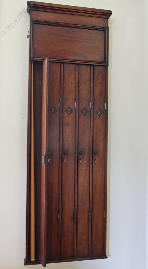 Victorian Mahogany Snooker Cue Wall Cabinet