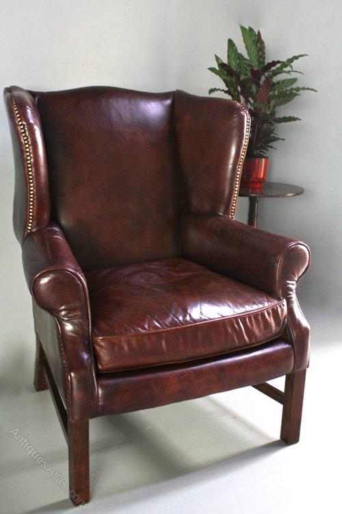 Vintage Leather Wing Armchair. U411