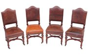 Set of 4 Victorian walnut leat