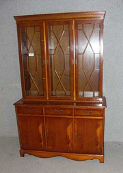 1960s 3 x door Yew wood bookca