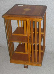 1970s Yew wood revolving bookc
