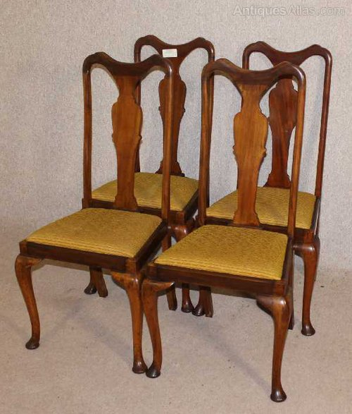 4 High Back Queen Anne Dining Chairs - Antiques Atlas