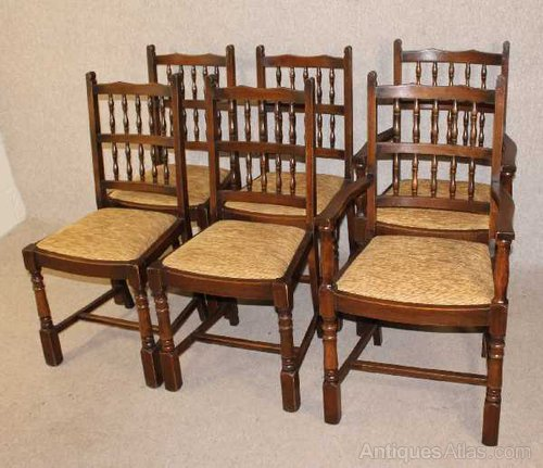 Antiques Atlas 6 Oak Spindle Back Dining Chairs