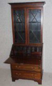 Mahogany Bureau with Glazed Di