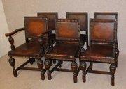 Set of 6 Carved Oak Dining Cha
