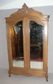 Walnut 2 Door Louis XV Armoire