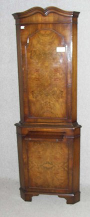burr walnut corner cupboard