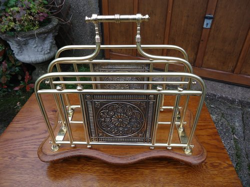 Aesthetic movement Brass magazine rack
