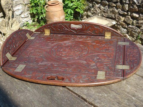 Aesthetic movement carved butler's tray