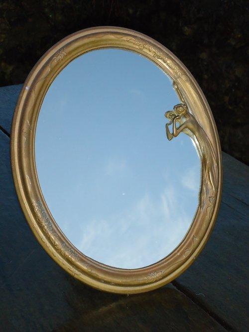 Art Nouveau vanity Maiden mirror