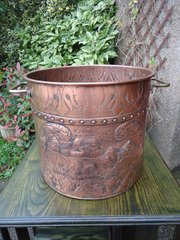 Arts & Crafts Copper Coal Bucket with Rural Scenes