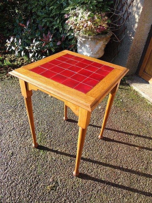 Arts & Crafts oak tiled top table