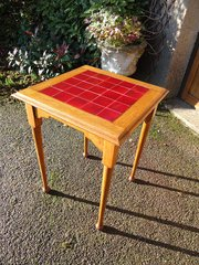 Arts & Crafts oak tiled top table