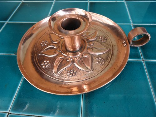 Arts & Craft copper candle holder - Keswick