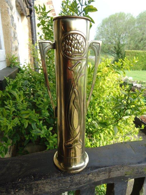 Arts & Crafts 2 handled brass vase by Beldray