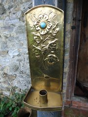 Arts & Crafts Brass Sconce with a cabochon
