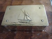 Arts  Crafts Brass casket with
