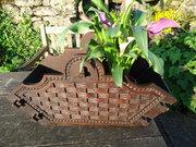 Arts & Crafts Carved Oak Basket