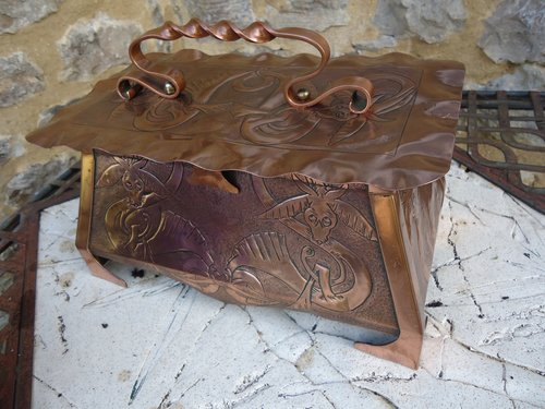 Arts & Crafts Celtic copper casket with dragons
