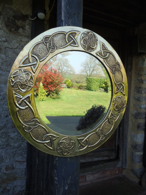 Arts & Crafts Celtic knot Brass circular mirror