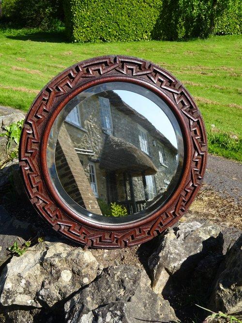 Arts & Crafts Celtic oak mirror