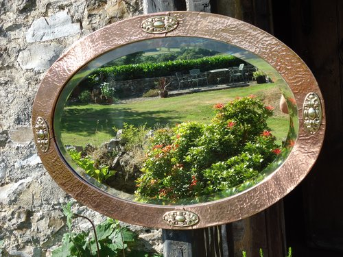 Arts & Crafts Copper Oval mirror