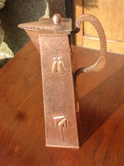 Arts & Crafts Cornish School copper jug