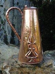 Arts & Crafts Cornish school copper lidded jug