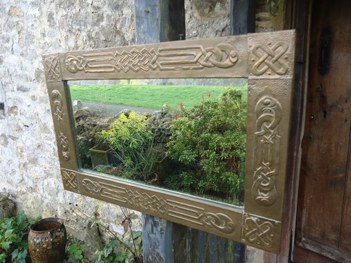Arts & Crafts Glasgow school brass mirror