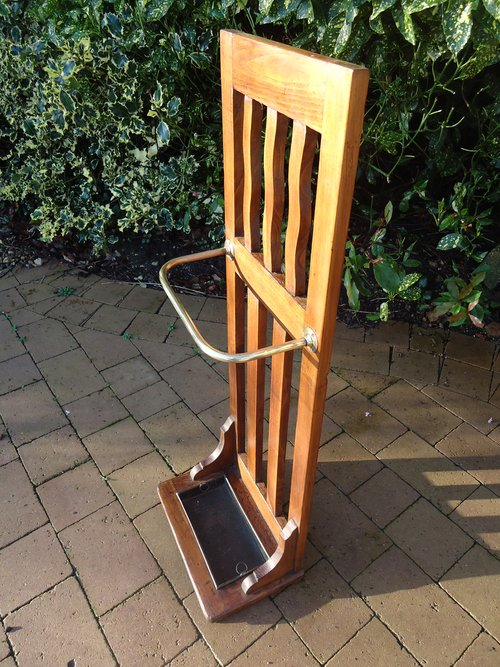 Arts & Crafts Glasgow school oak stick stand