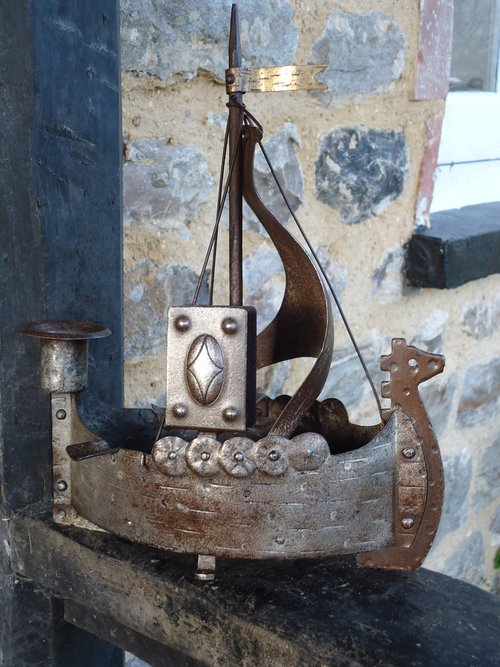 Arts & Crafts Goberg Viking ship candleholder