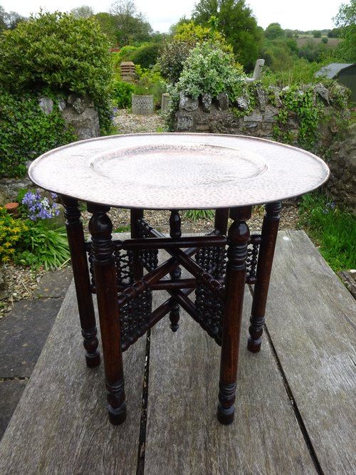 Arts & Crafts Liberty table with copper tray top
