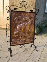 Arts & Crafts Newlyn school copper fire screen