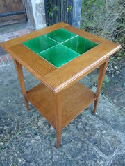 Arts & Crafts Oak table with a green tiled top