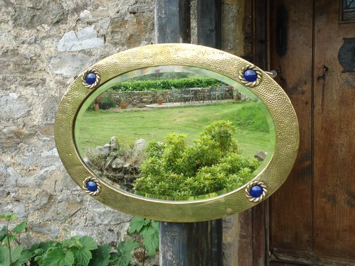 Arts & Crafts Oval Brass Mirror with roundels