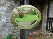 Arts & Crafts Oval Brass mirror