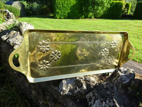 Arts & Crafts Scottish school brass tray